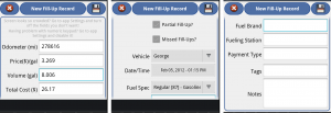 aCar Add Fill-Up Record screenshots